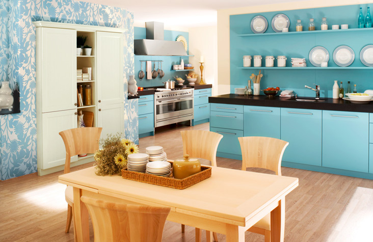Blue color kitchen interior design ideas home office for Blue kitchen paint ideas