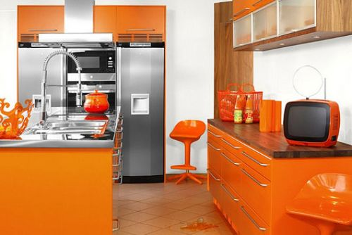 Interior design orange color kitchen design ideas for Kitchen interior colour