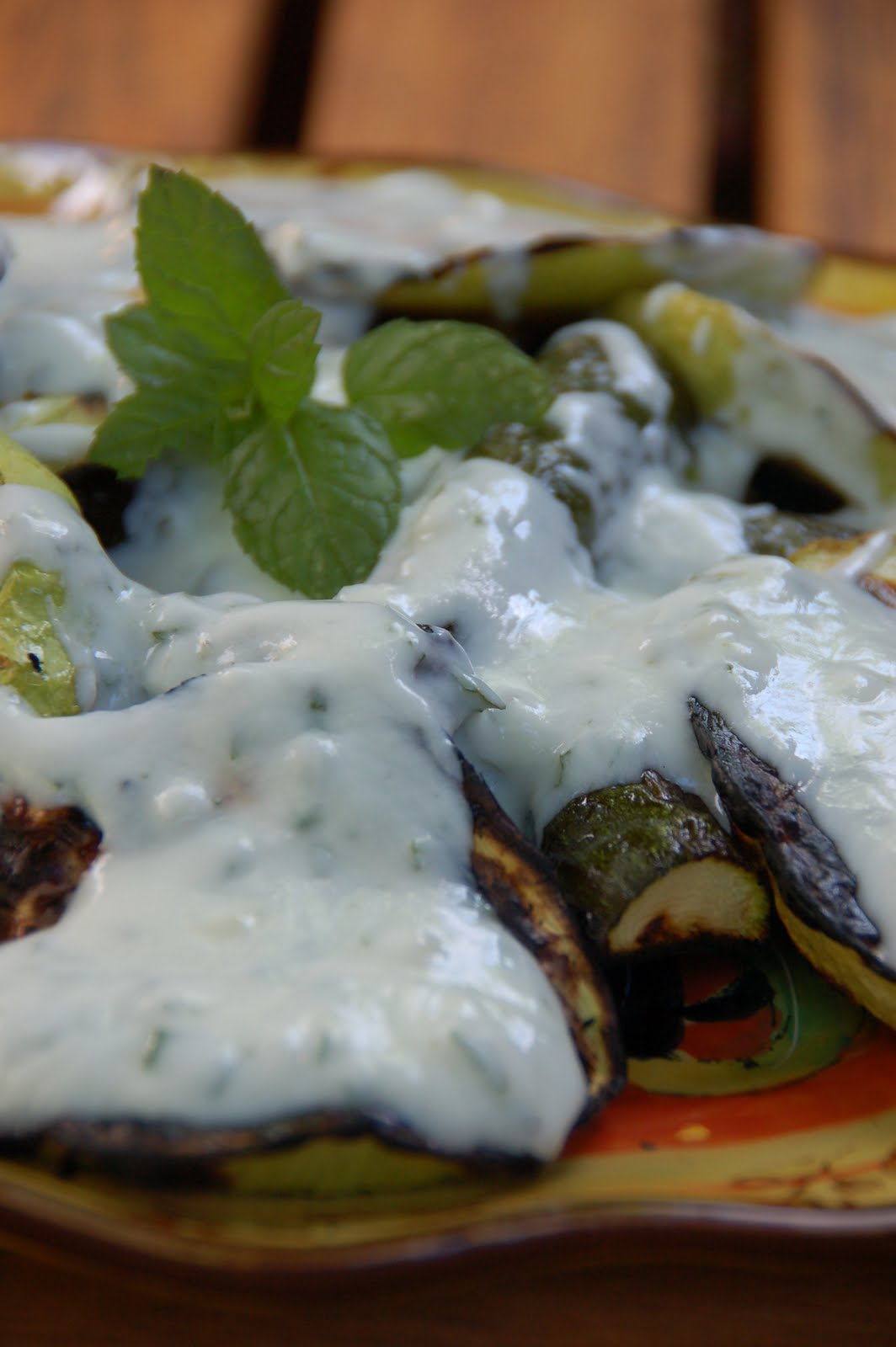 Guinnah: Grilled Squash with garlicky mint yogurt sauce