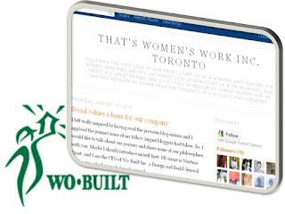 Collage: Wo-Built post on Social Values a Basis for Our Company for That's Women's Work Inc. Toronto blog, by wobuilt