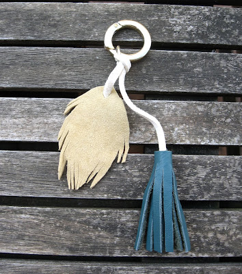 leather feather and tassel key chain