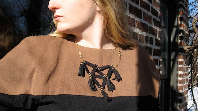 black leather triangles and tassels geometric necklace