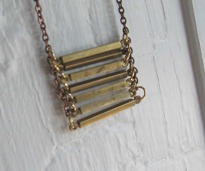 brass stacked bars layer geometric necklace