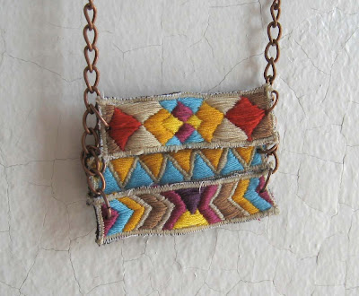 embroidered layered geometric native+american necklace