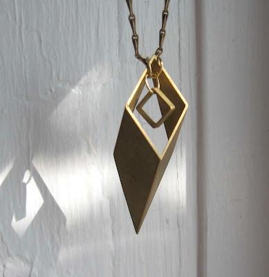 brass geometric necklace