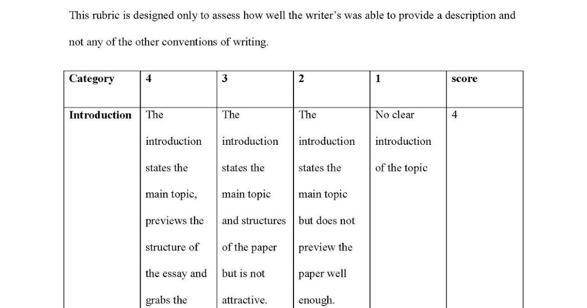 Rubric for essay writing