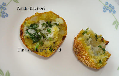 coconut stuffed aloo kachori