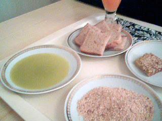 Avokadoolja, dukkah och bröd