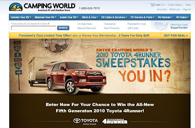 Camping World.com Toyota 4Runner Sweepstakes CampingWorld.com/Toyota