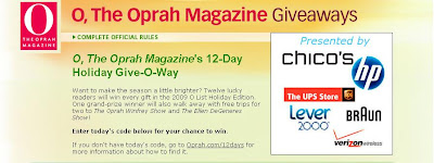 Oprah.com/12days, Oprah Magazine's 12 Day Giveaway