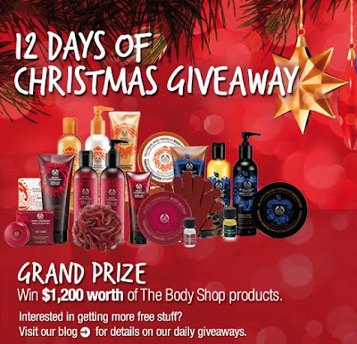 The Body Shop 12 days of Christmas Giveaway, Thebodyshop-usa.com/12days