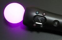 ピンクに光るモーションコントローラ