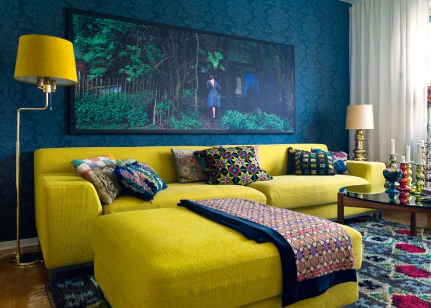 blue and yellow interior