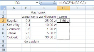 sumowanie iloczyn Excel