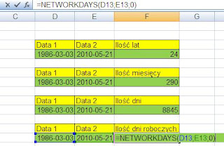 funkcja networkdays excel
