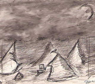 Pencil sketch of a sailboat entering a storm by Illustrator Tony Sarrecchia