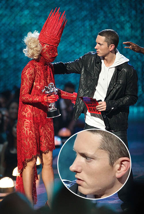 Illuminati slave Lady GaGa accepting a VMA music award.
