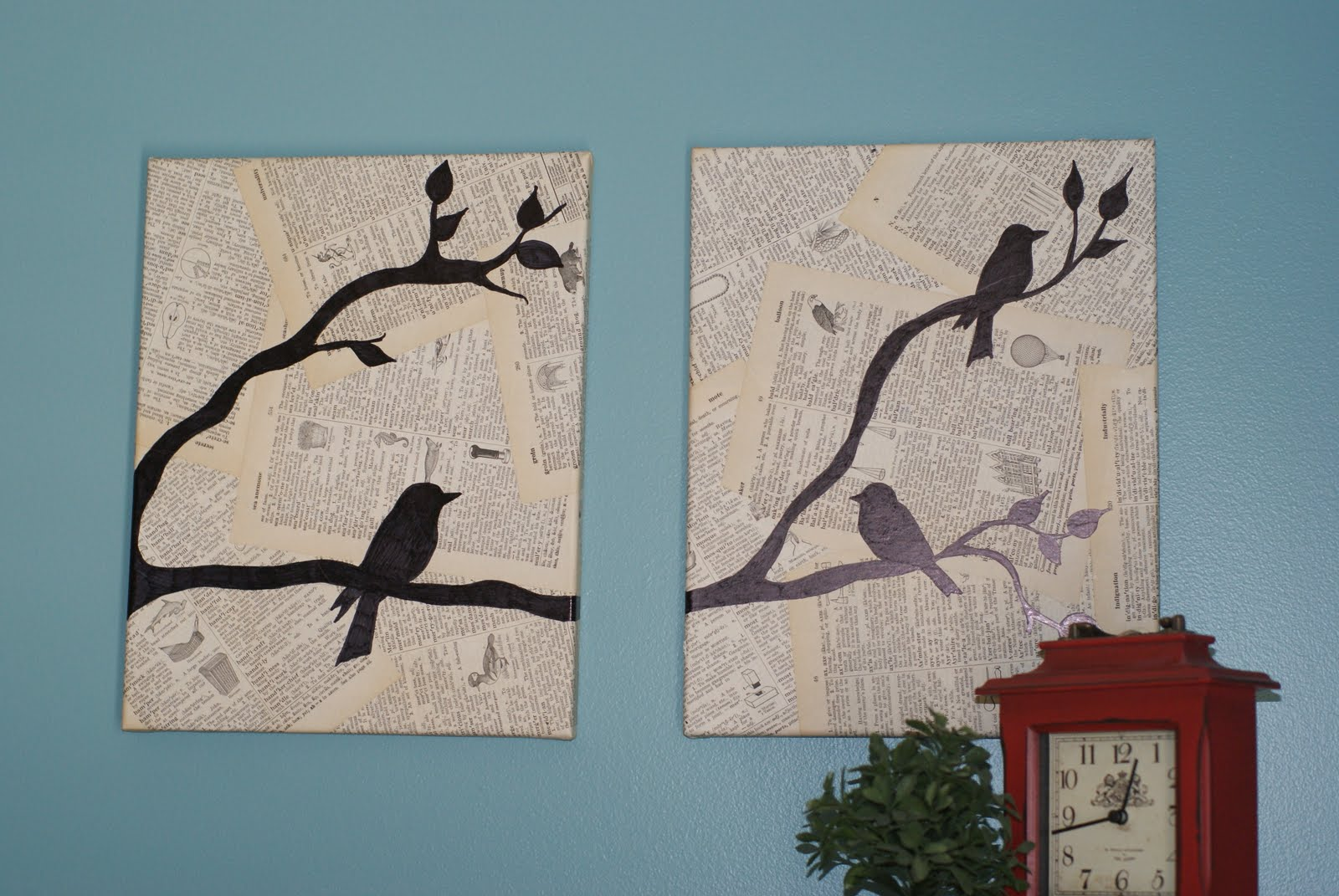 Crafting on a budget diy bird canvas wall art for Bird wall art