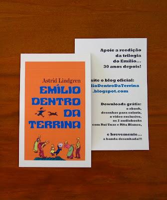 Cartão de divulgação do projecto pela reedição da trilogia do Emílio