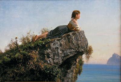 Palizzi-fanciulla su una roccia a Sorrento