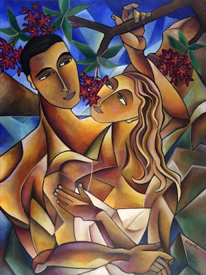 stephanie clair, painting, scent of love, mosaic painting, oil painting