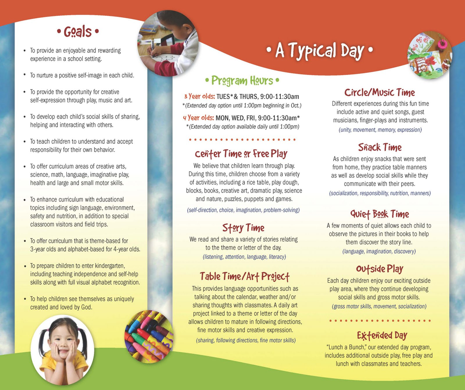 Valley christian preschool download our brochure for Preschool brochure template