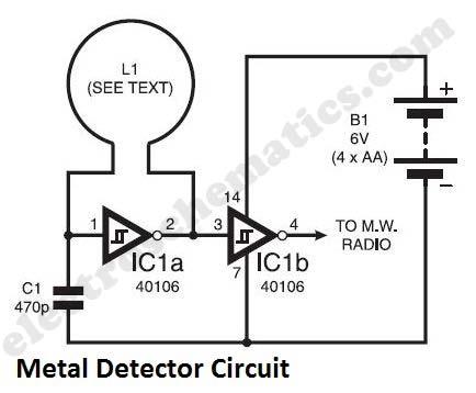 Skema Detektor Logam Sederhana Menggunakan Ic 40106
