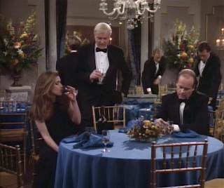 Frasier, Roz, and Fletcher Grey in a post-awards discussion.