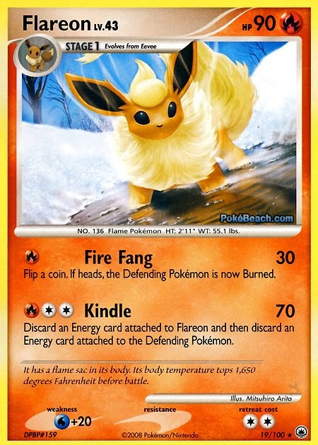 Pokemon card of the day flareon majestic dawn primetime pokemon 39 s blog