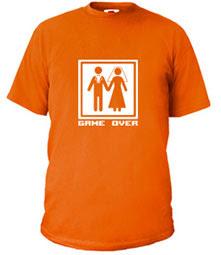 T-Shirt des Monats April. GAME OVER für Ihre nächste Hochzeit oder den Junggesellenabschied.
