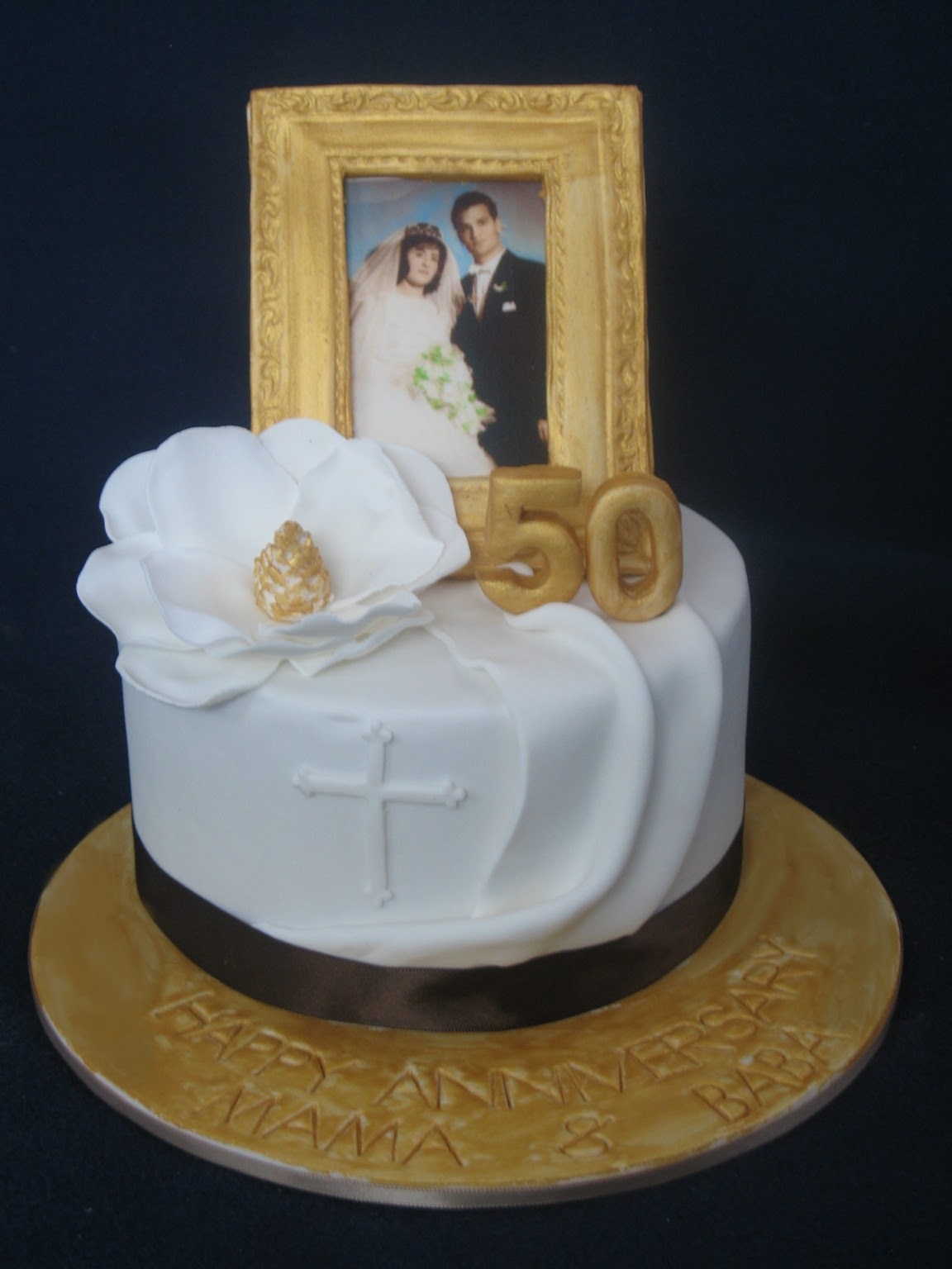 Blissfully Sweet Golden 50th Wedding Anniversary Cake