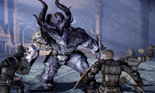 Battling monster in Dragon Age: Origins