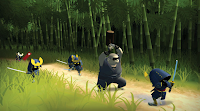 ninjas parade through the forest