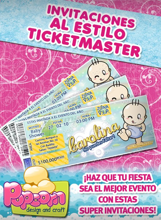 PopCorn: Originales invitaciones tipo ticketmaster para baby shower!!!