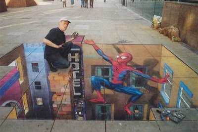 Spiderman To The Rescue - Spiderman Chalk Drawing