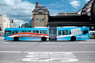 Dr Best's Flexible Toothbrush Bus Advertisement