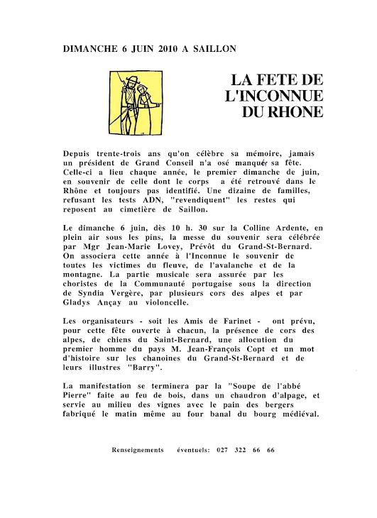 Le 6 juin 2010 l'Iconnue du Rhône à Saillon