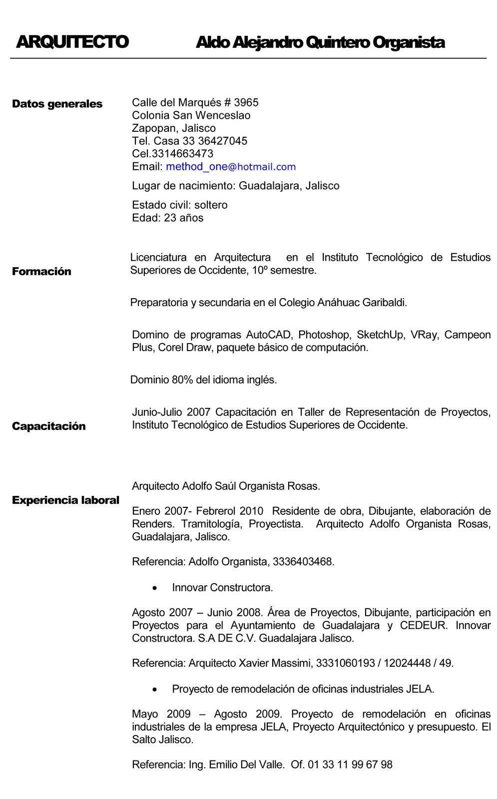 ARQUITECTO ALDO ORGANISTA: CURRICULUM