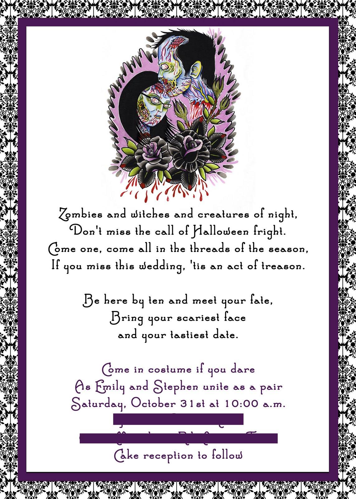 Westwind Days Emilys Halloween Wedding Invitation
