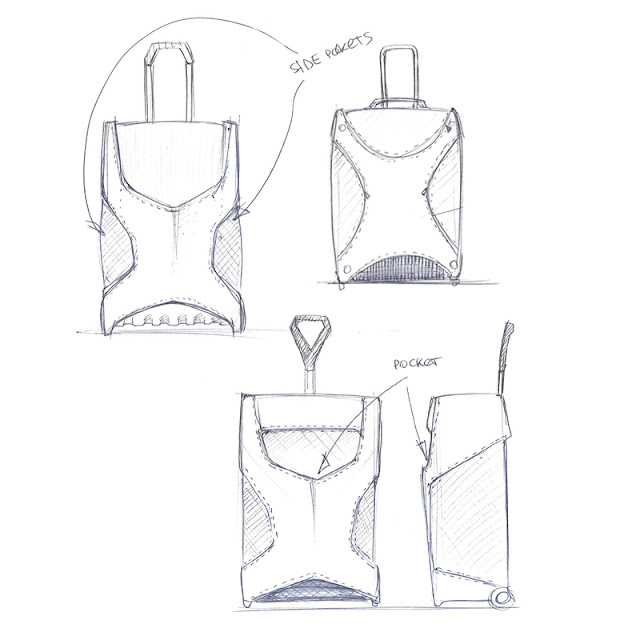 Wheeled luggage design initial drawing