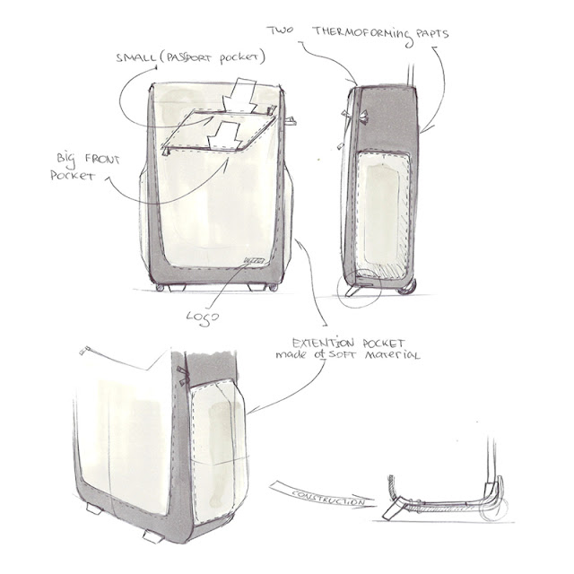 Wheeled luggage design sketch 1