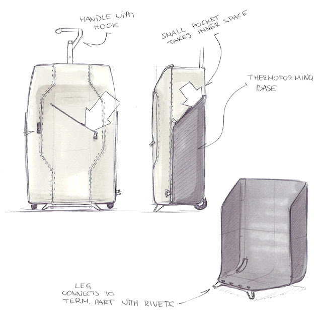 Wheeled luggage design sketch 3