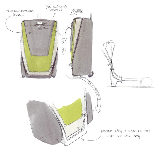 Wheeled luggage design sketch 5