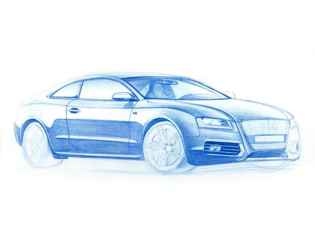 Audi A5 pencil drawing