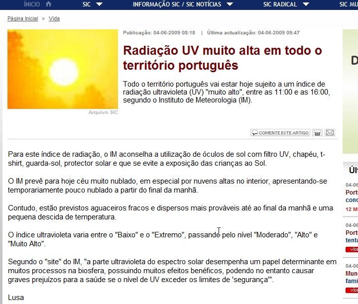 Radiação UV muito alta (outravez)