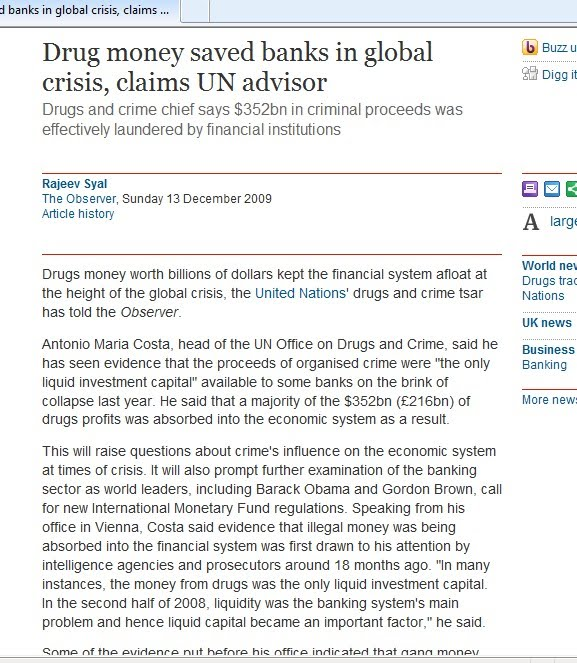 Dinheiro da droga salvou Bancos