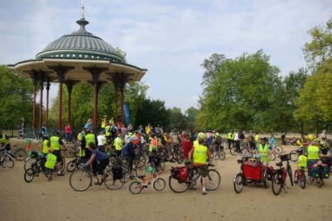 gathering for Sky Ride on Clapham Common on lambethcyclists.org.uk
