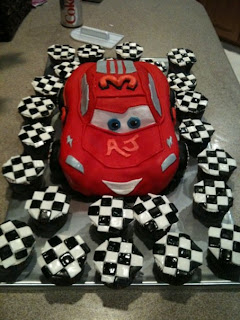 Jillys Takes the Cake Lightning McQueen and Checkered Flag cupcakes