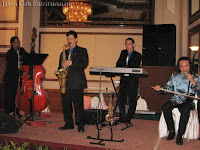 Wedding singer and band performing during the wedding dinner