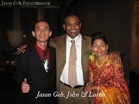 Band manager and keyboard player Jason Geh with wedding couple John Fernandez and Latha